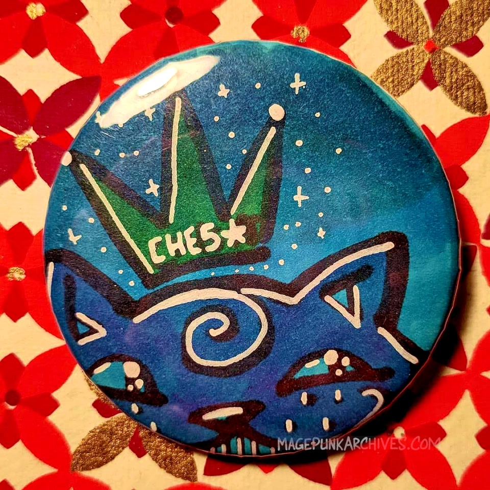Blue on Blue Twinkly Ches Star Button