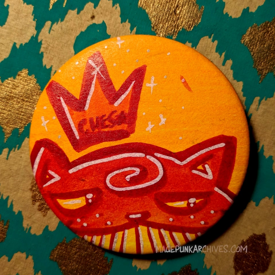 Chill Red on Orange Ches Star Button