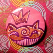 Orange on Pink Happy Teary Ches Star Button Day