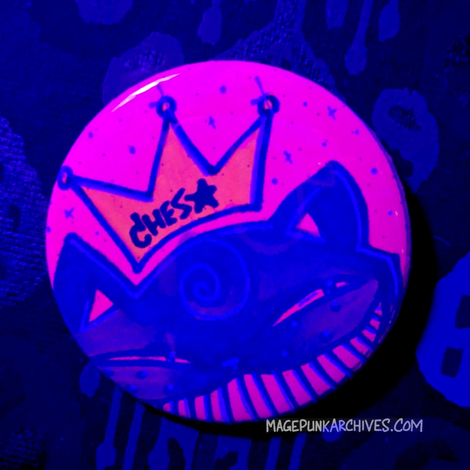Purple on Pink Big Grin Ches Star Button Night
