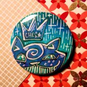Super Glimmer Blue on Teal Ches Star Button